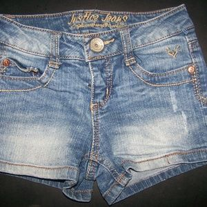 GIRLS JUSTICE JEAN SHORTS SZ 7